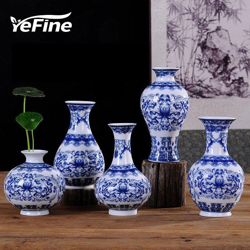 YEFINE Vintage décor à la maison en céramique Vases à fleurs pour les maisons Antique traditionnel chinois bleu et blanc Vase en porcelaine pour les fleurs