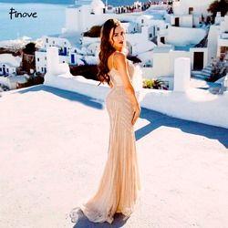 Finove Champagne Abendkleider 2019 Elegante V-ausschnitt Ärmellose Sexy Formale Kristall Perlen Partei Lange Prom Kleider für Frau
