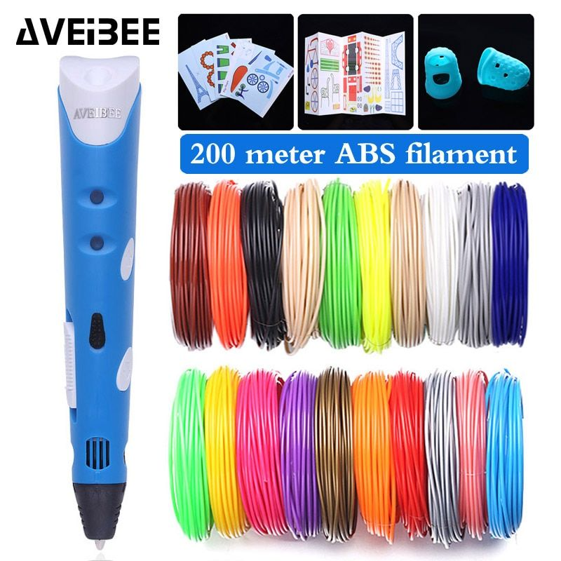 Model 3D Pen 3 D Printer Drawing Magic Printing Pens With 100/200M Plastic ABS Filament School Supplies For Kid Birthday Gift