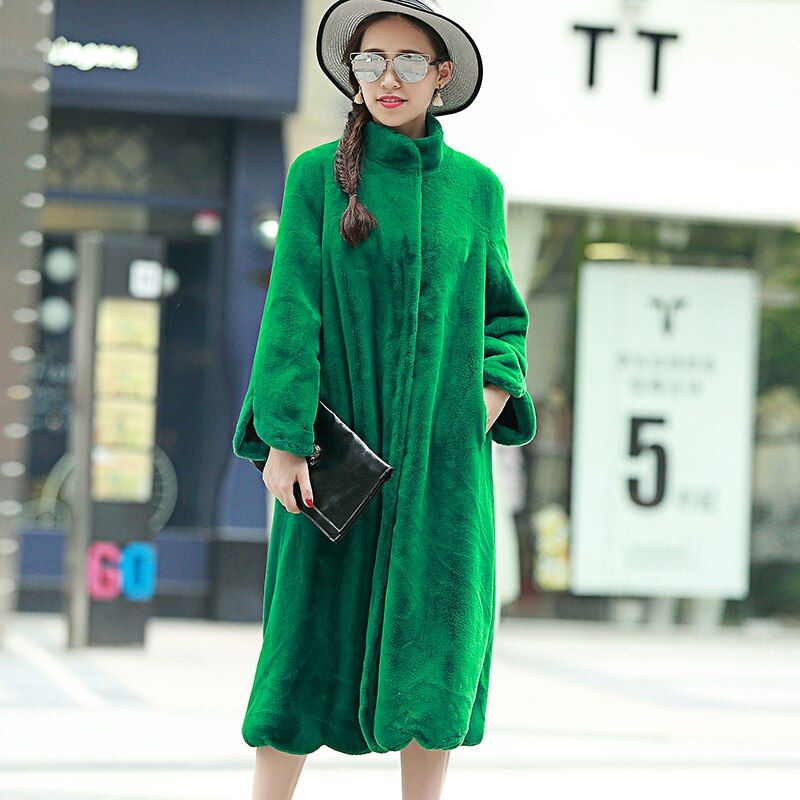 Nerazzurri Long Faux Fur Coat Women 2017 Winter Solid Color Long Sleeve Stand Collar Loose Green Outerwear Plus Size 5XL 6XL 7XL