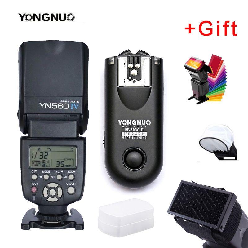 Yongnuo YN560IV YN560 IV YN 560 Flash Speedlite pour Canon Nikon Olympus Pentax avec déclencheur Flash sans fil YongNuo RF603 II