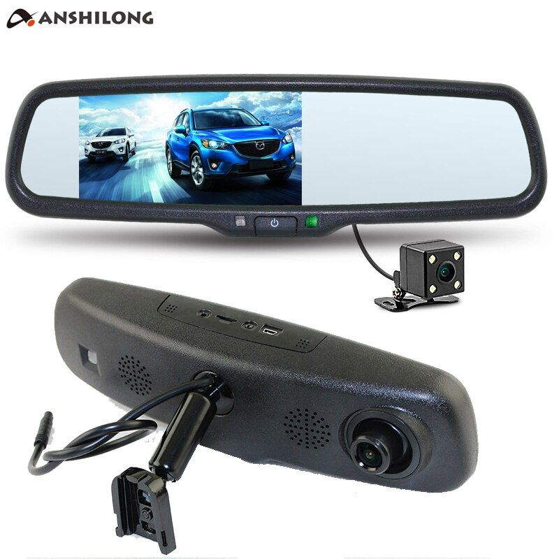 ANSHILONG 5 HD Car Interior Replacement Rear <font><b>View</b></font> Mirror Monitor DVR 1080P + Rearview Camera Supports Dual Cameras Recording
