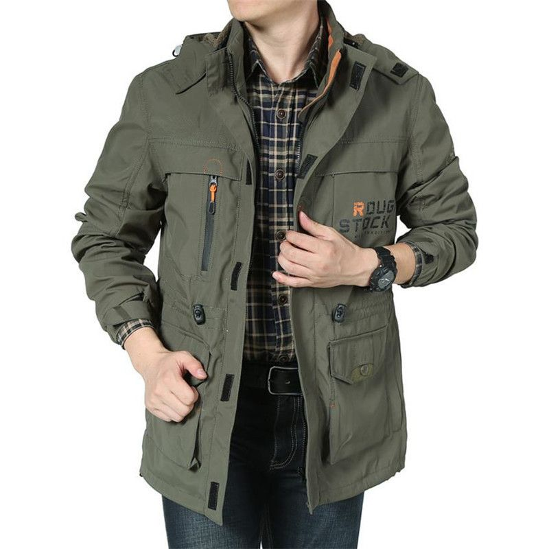 2018 Brand Clothing Bomber Jacket Men <font><b>Army</b></font> Jacket <font><b>Army</b></font> Green Multi-pocket Waterproof Jacket Windbreaker Men Coat