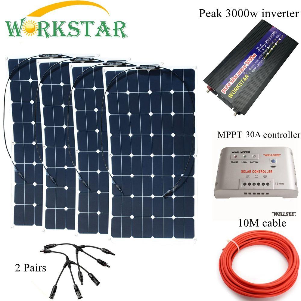 SUCHWORK 4*100 W Sunpower Flexible Solar Panels mit 30A Controller und 3000 W Inverter 400 W solar System kit für Anfänger