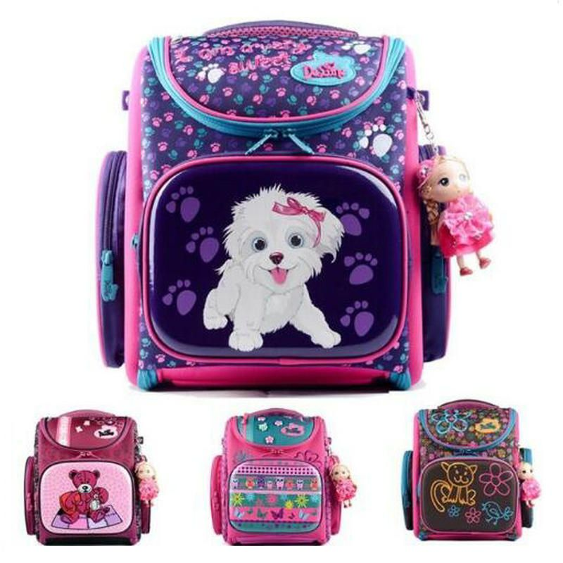 Delune 2018 New European Children School Bag Girls Boys Backpack Cartoon Mochila Infantil Large <font><b>Capacity</b></font> Orthopedic Schoolbag