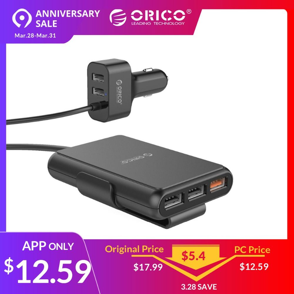 ORICO UCP-5P 52 W Voiture chargeur usb Intelligente De Charge QC3.0 Rapide Voiture chargeur pour xiaomi Huawei Sanmsung Tablet