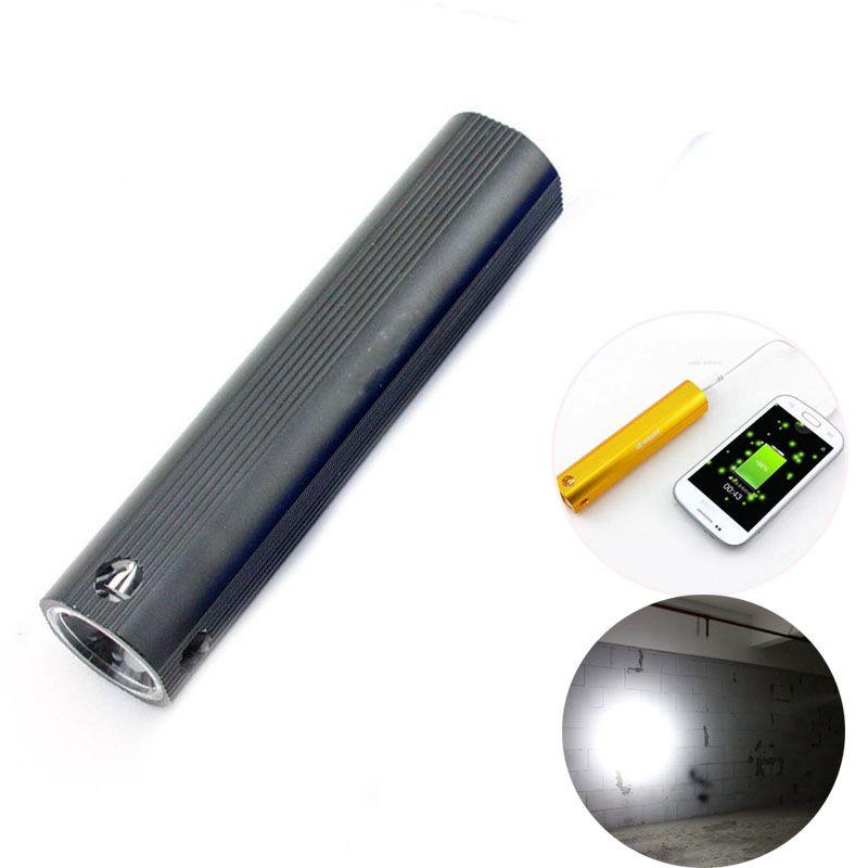 Lumineuse haute puissance lampe de poche LED usb batterie externe rechargeable d'élément chargeur de batterie portable torche flash lumière pour camping équitation