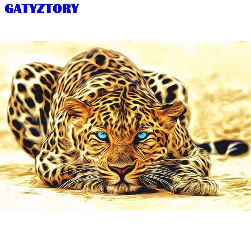 Sans cadre léopard animaux peinture à la main par numéros acrylique image peint à la main peinture à l'huile sur toile pour décor à la maison œuvre