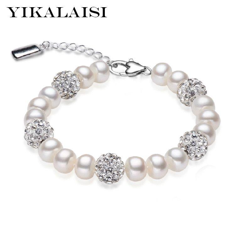 2016 Nuevo encanto pulsera perla joyas circón pulsera 100% perla de agua dulce natural 925 pulsera de plata esterlina para las mujeres