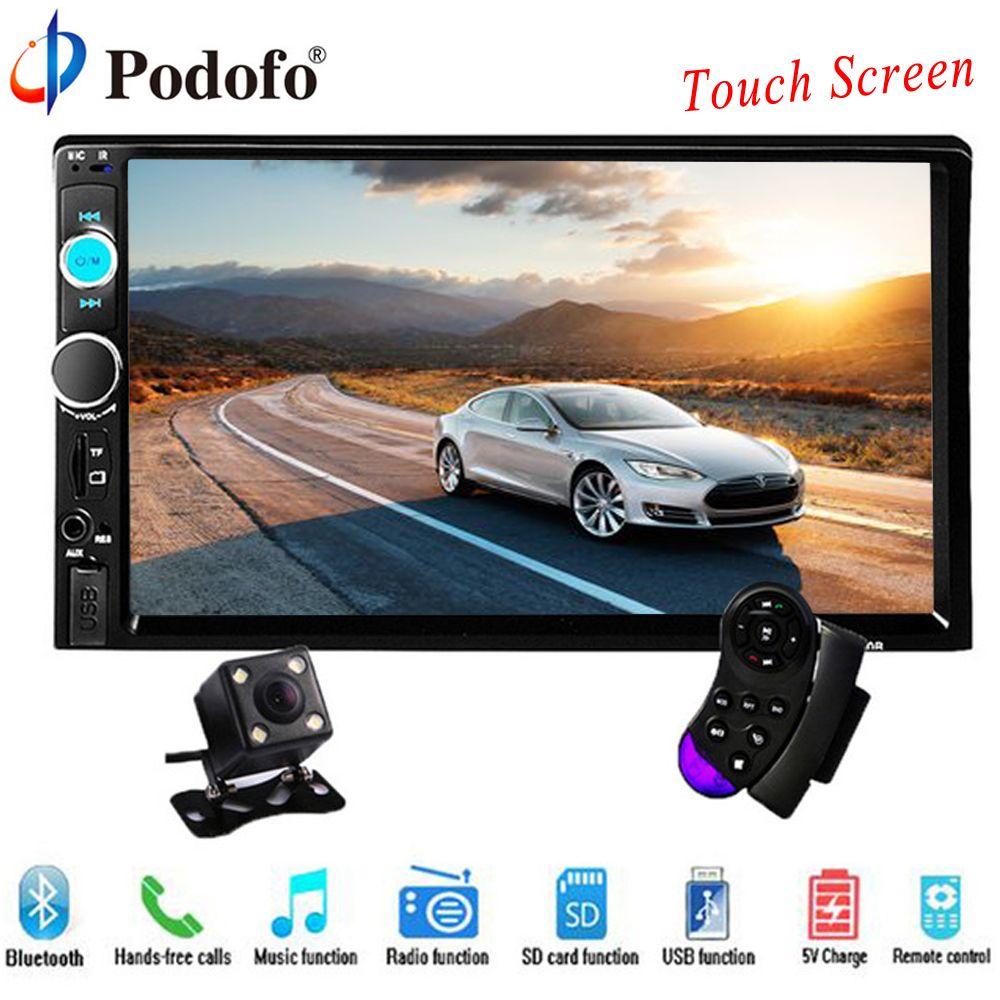Podofo 2 din autoradio 7 HD lecteur d'écran tactile MP5 SD/FM/MP4/USB/AUX/Bluetooth voiture Audio pour caméra de recul télécommande