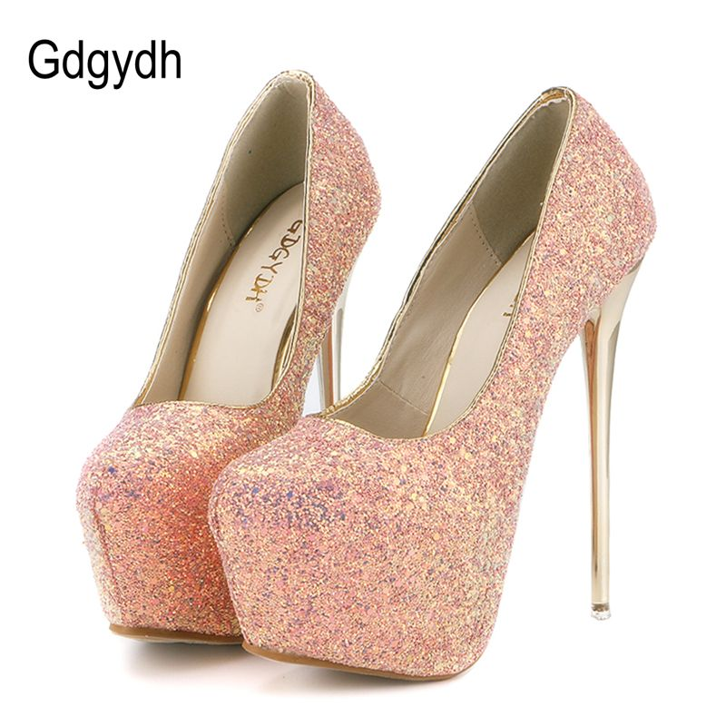 Gdgydh mode femmes talons plate-forme chaussures 2018 nouveau printemps automne Bling femmes pompes talons minces Sexy Slim parti chaussures talons hauts