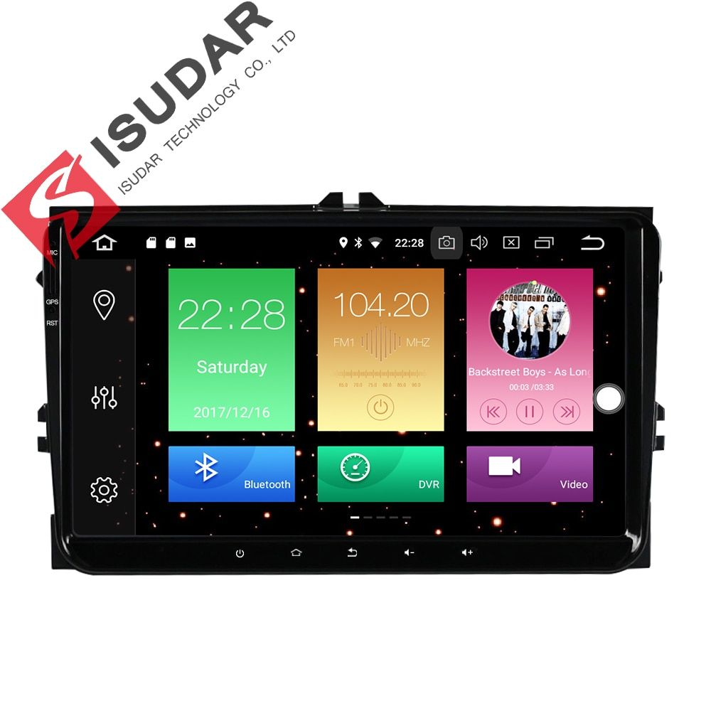 Isudar Car Multimedia Player GPS Android 8.0 For VW/Golf/Tiguan/Skoda/Fabia/Rapid/Seat/Leon DSP Canbus Car Radio 1 Din fm wifi