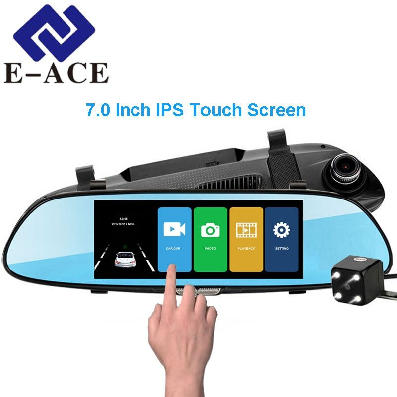 E-ACE Car Dvr 7.0 Inch Touch Dash Cam FHD 1080P Video Recorder Rearview Mirror DVRs With Rear View Camera Auto Registrator