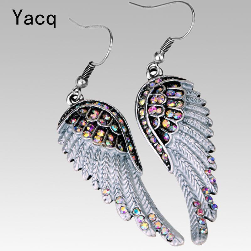 Angel wings dangle earrings antique gold silver color W crystal women girls biker bling jewelry gift wholesale dropshipping EC23