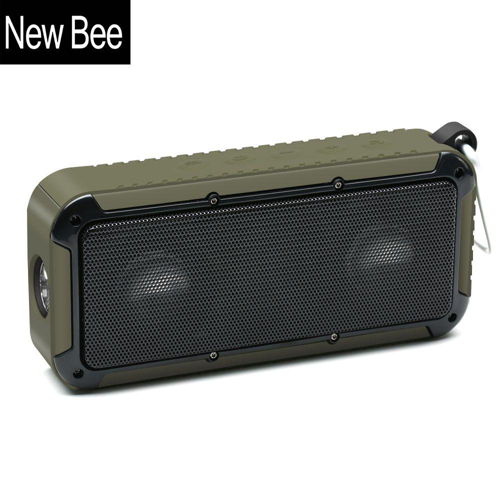New Bee Outdoor Portable Waterproof Wireless Bluetooth Speaker Bike Soundbar with Microphone NFC Bicycle Mount LED Flashlight
