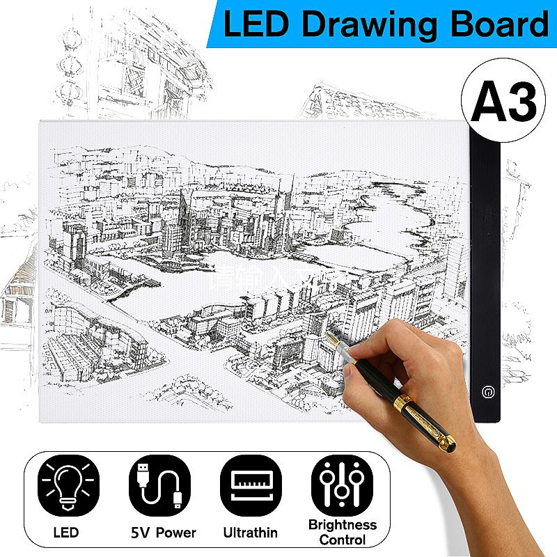 LED Graphic Tablet Writing Painting Light Box Tracing Board Copy Pads Digital Drawing Tablet Artcraft A3 Copy Table LED Board
