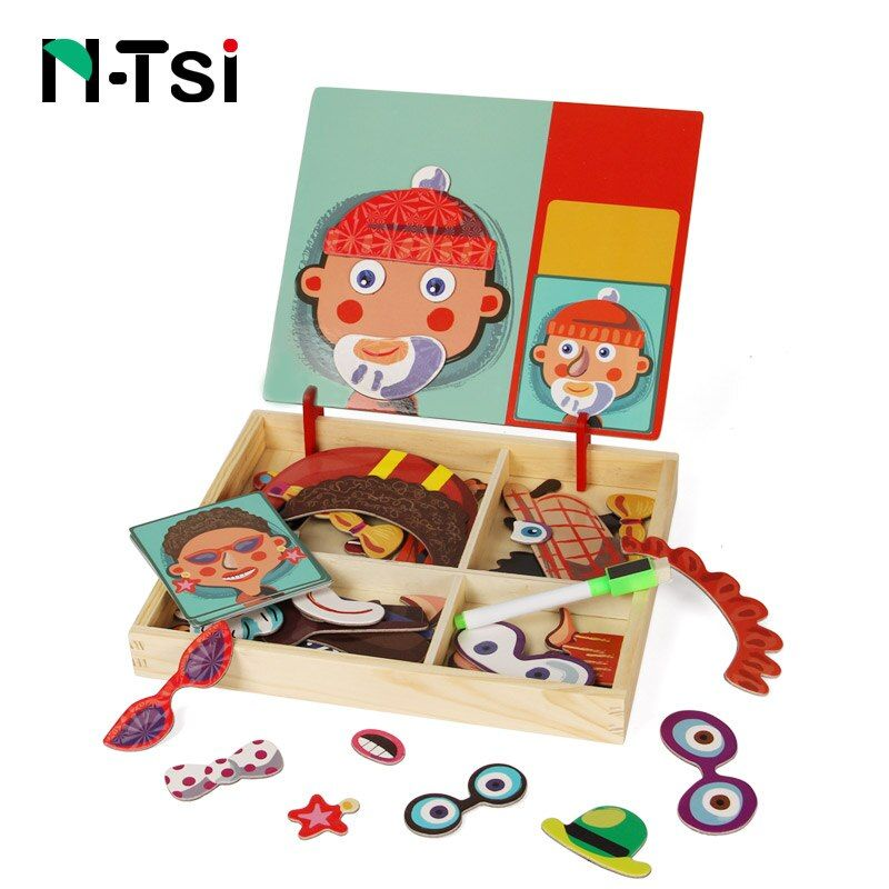 N-Tsi Wooden Kids Educational Toys Scene Magnet Puzzles Game Set Easel Dry Erase Board Fun Reusable Stickers for Children Gift