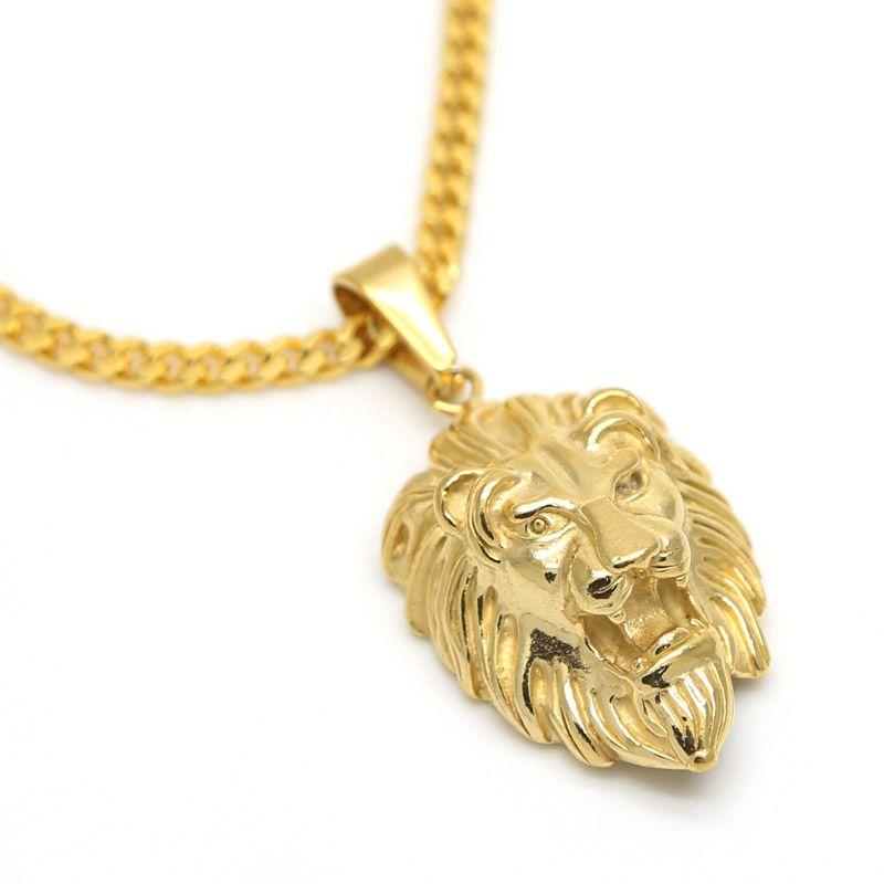 JHNBY Lion Head pendants necklace High Quality Fashion Hiphop 70cm long Gold-color Plated statement necklace Chain Men <font><b>Jewelry</b></font>