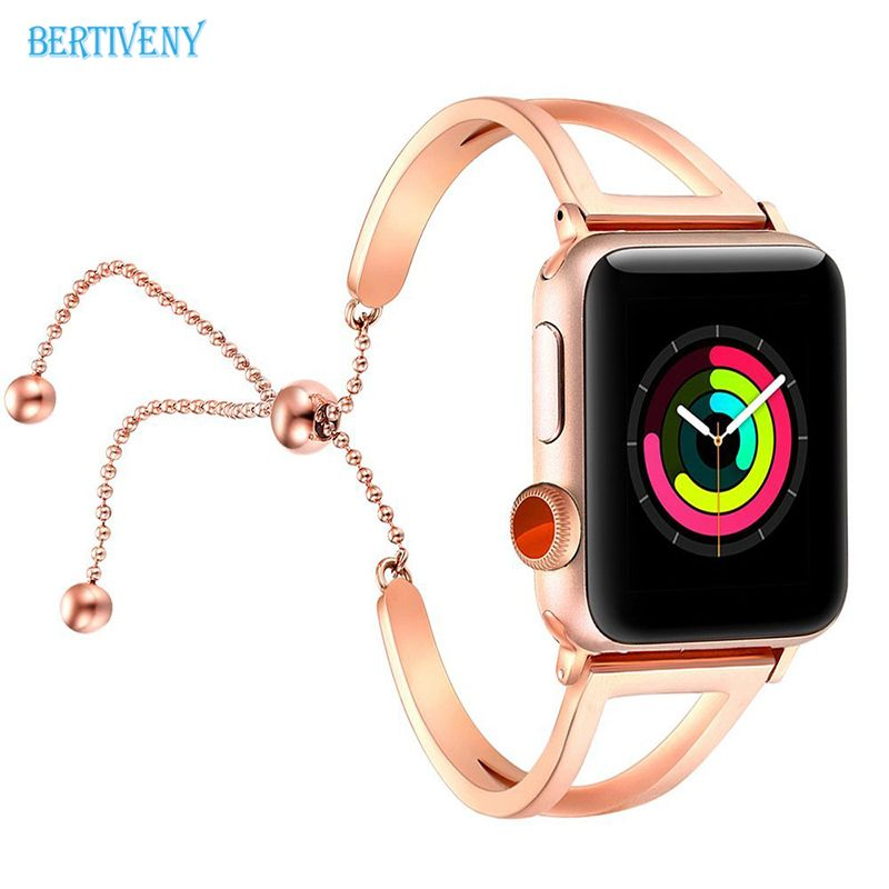 Women Watch Bracelet for Apple Watch Bands 38mm/42mm Adjustable Stainless Steel Strap with Pendant for iwatch series 3 2 1