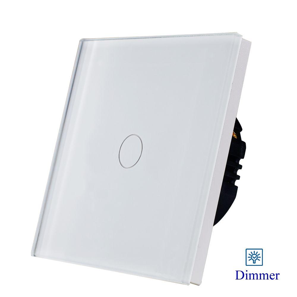 Offre spéciale Bingoelec panneau en verre blanc 700W 1gang1way interrupteur variateur de lumière pour dimmable lumière 1/2 Gang EU interrupteur mural standard