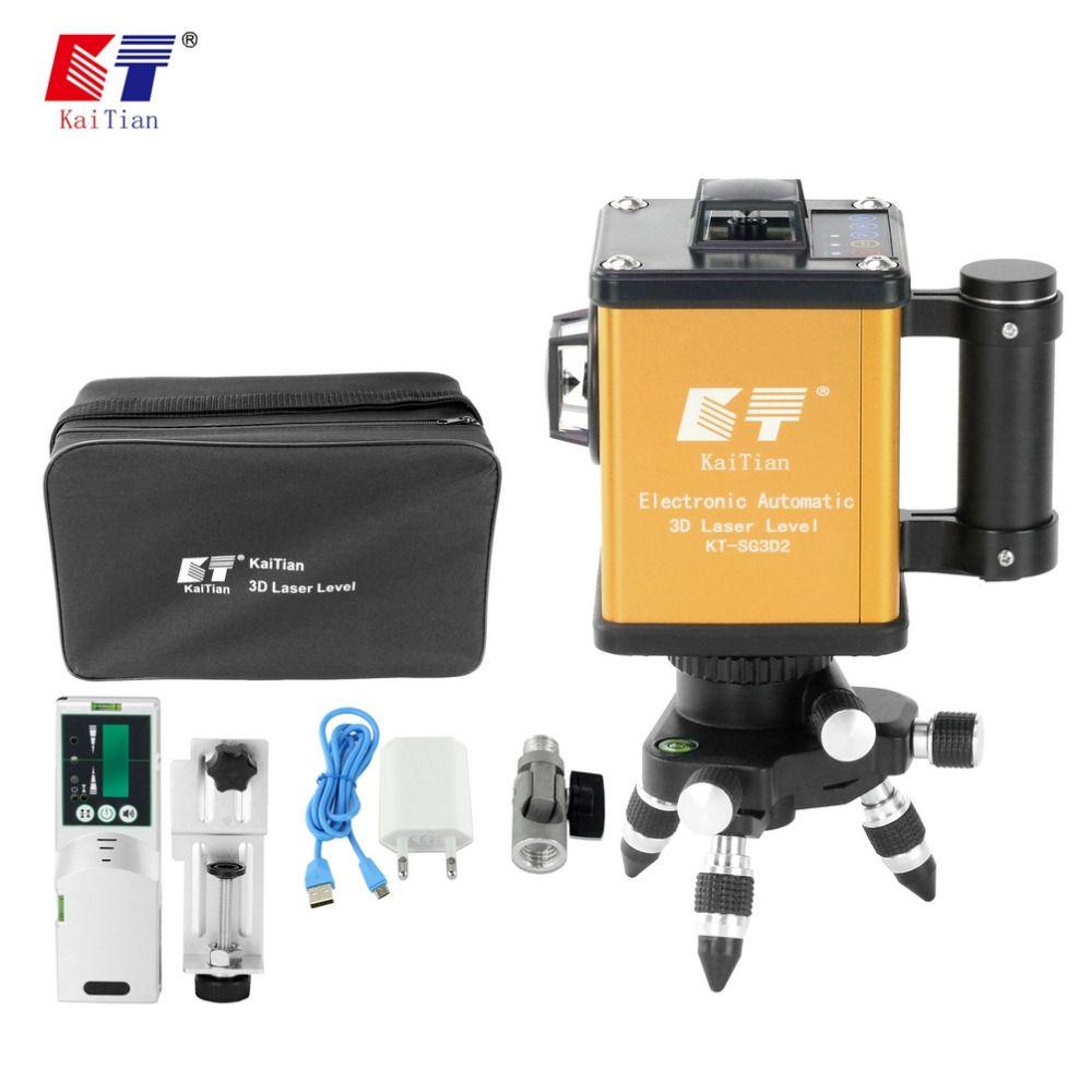 KaiTian Selbst Nivellierung Laser Level 12 Linien 360 Rotary Grün Outdoor Elektronische Automatische 520nm Strahl Linie Livella Laser 3D werkzeuge