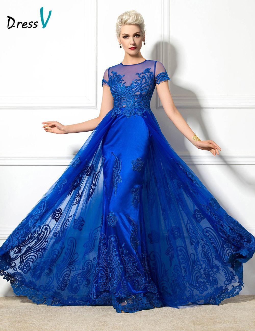 Dressv 2017 Jewel Neck Short Sleeve A-Line evening dress Appliques long elegant dark royal blue sexy lace up party Evening Dress