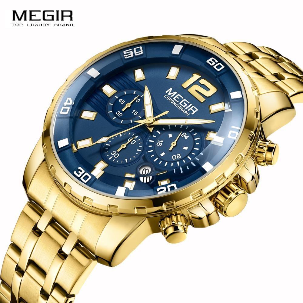 MEGIR Chronograph Quartz Watch Men's de luxo Wrist Watches Clock Male Stainless steel band Business Wrist watch Luxury