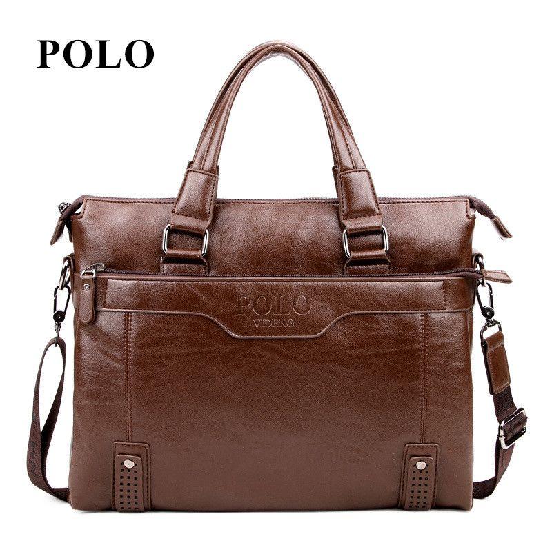 New Brand POLO men's leather messenger bags vintage crossbody bag men <font><b>shoulder</b></font> bag postman briefcase male Handbags