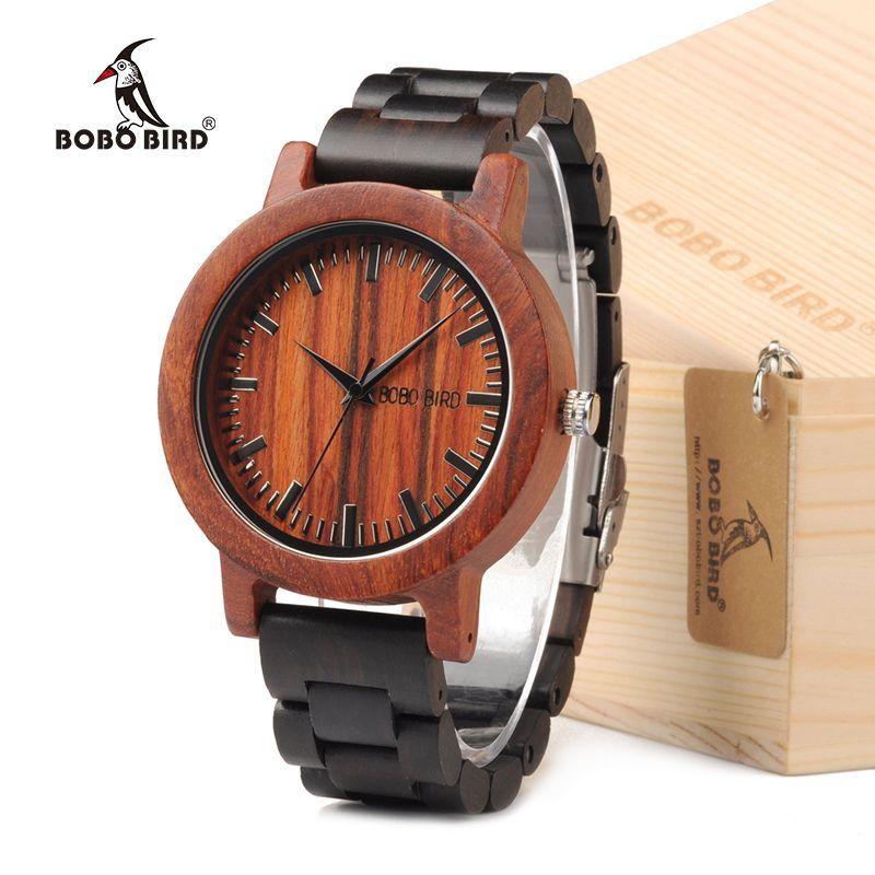 BOBO BIRD M05 naturel Rose sandale en bois Quartz montre analogique pour hommes marque de luxe léger pour l'environnement dans la boîte-cadeau