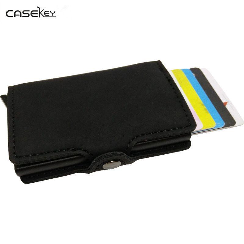 Casekey Бесплатная доставка металла мужчины держателя карты RFID алюминиевый держатель кредитной карты с RFID блокировки искусственная кожа мини ...