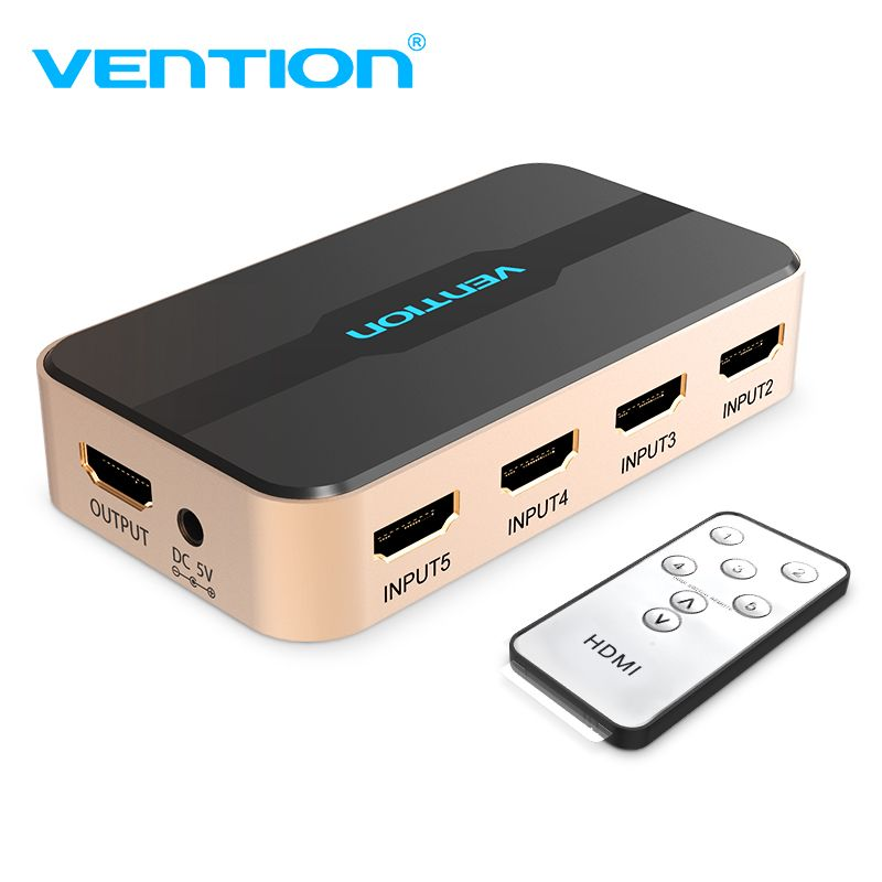 Vention <font><b>HDMI</b></font> Splitter Switch 5 Input 1 Output <font><b>HDMI</b></font> Switcher 3 Input 1 Ouput for XBOX 360 PS4 Smart Android HDTV 4K <font><b>HDMI</b></font> Adapter