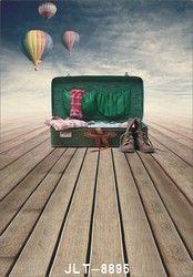 Vintage Wooden Plank Floor west cowboy shoes Custom Studio Backdrops fire balloon Photo Background Vinyl Free Shipping