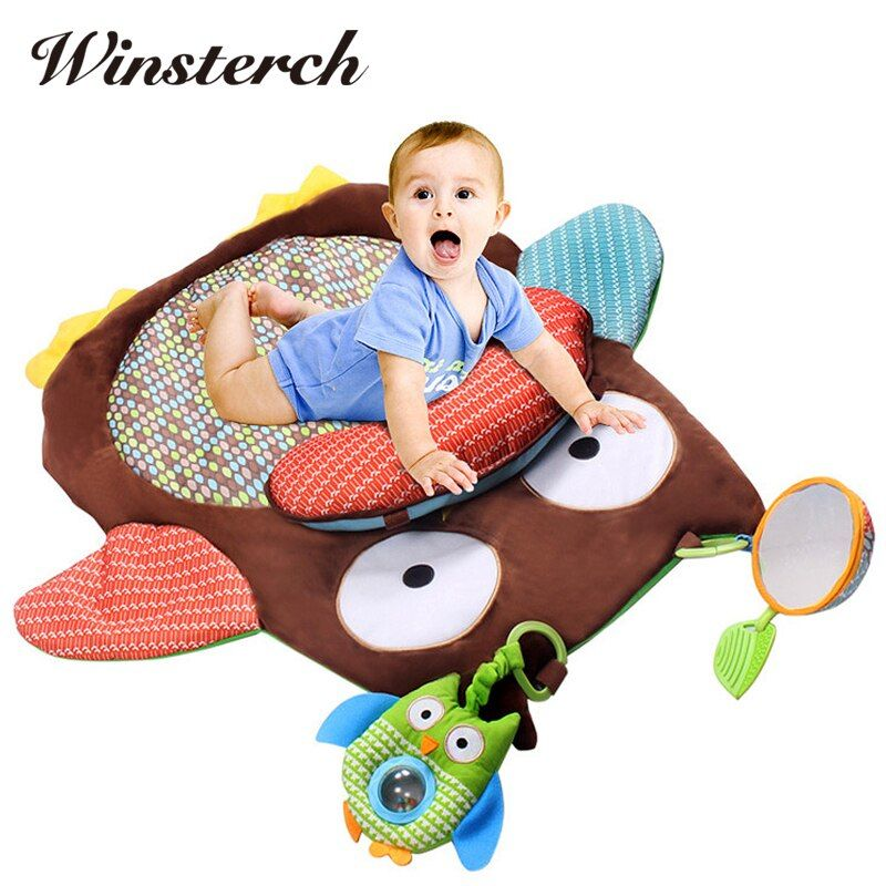 76cm*76cm Baby Tummy Time Soft Play Mat <font><b>Rug</b></font> Plush Baby Crawling Activity Mat Playing Cushion Pillow Pad Teether Gift WW321