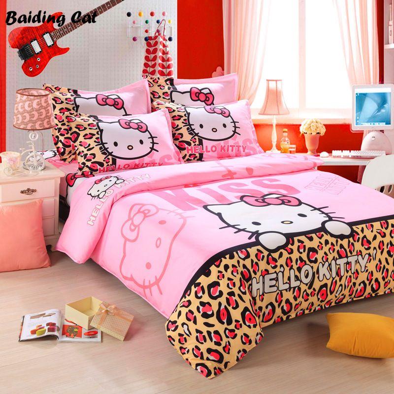 Textiles de maison, Logo de la Marque Bonjour Kitty Literie Ensemble, Enfants Modèle de Dessin Animé, inclure Housse de couette Drap de Lit Taie D'oreiller Livraison Gratuite