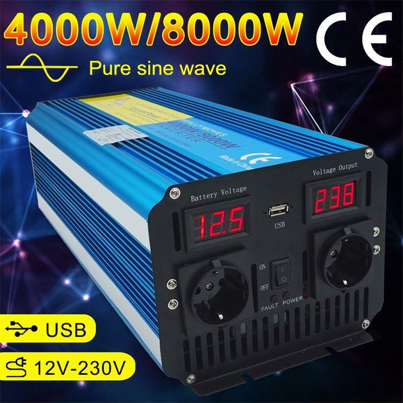 Dual Led-anzeige 8000W reine sinus welle power inverter DC 12 V/24 V ZU AC 220V /230 V/240 V mit 3.1A USB dual EU buchse
