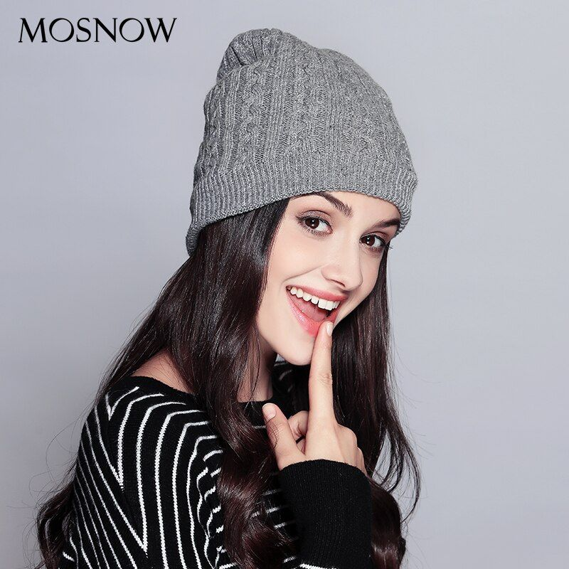 MOSNOW Hats For Women Casual Wool Double Layer Extra Thick 2017 Winter High Quality Knitted Hat Female Skullies Beanies  #MZ737