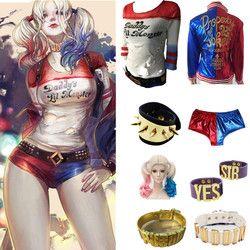 Suicide Squad Harley Quinn Cosplay Kostüm T-shirt Mantel Jacke Set Zubehör Ohrringe Kragen Armband Gürtel Handschuhe