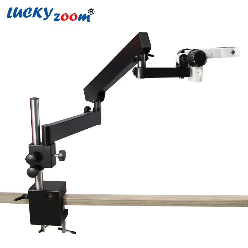 Luckyzoom Articulating Pillar Clamp Stand For Stereo Zoom Microscope Arm Focuse Trinocular Microscopio Accessories Free Shipping