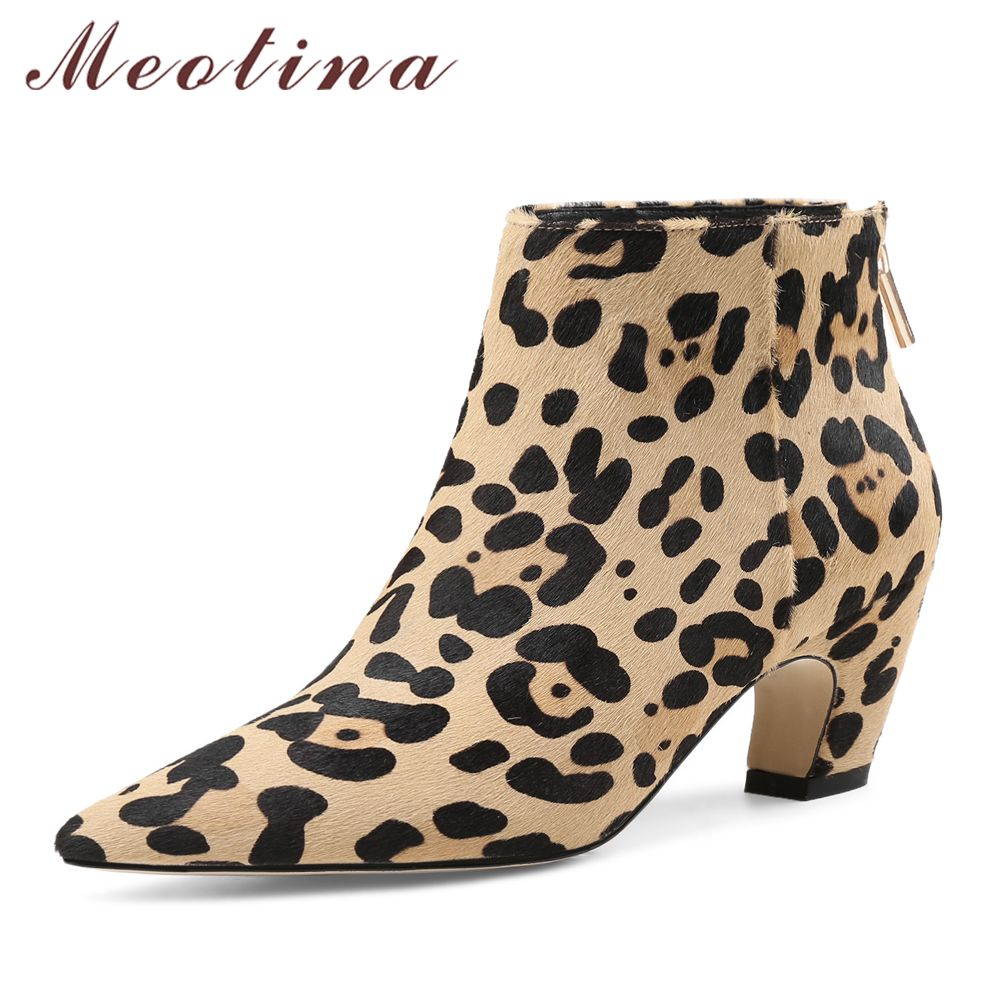 Meotina Luxury Design Women Ankle Boots Horse Hair High Heel Short Boots Zip Leopard Black Boots 2018 Spring Female Shoes Black
