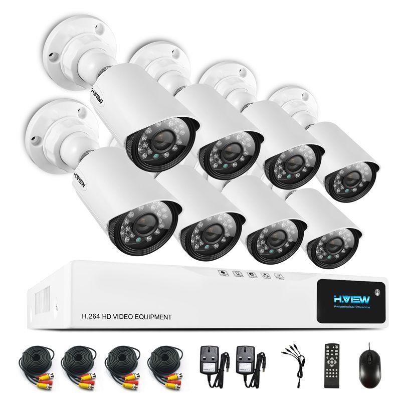 H.View 720P Video Surveillance System 8CH CCTV Security Kit 8PCS 720P Outdoor Security Camera 8 CH CCTV DVR