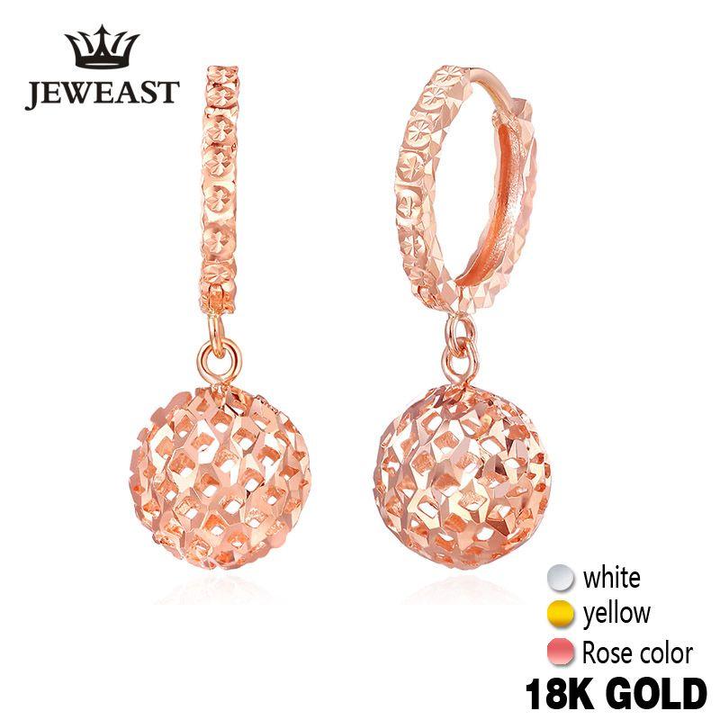18 karat Gold Ohrringe Frauen Ball Hohl Design Stieg Feine schmuck Klassische Weibliche Nette Baumeln Ohrring Partei Mädchen Geschenk neue