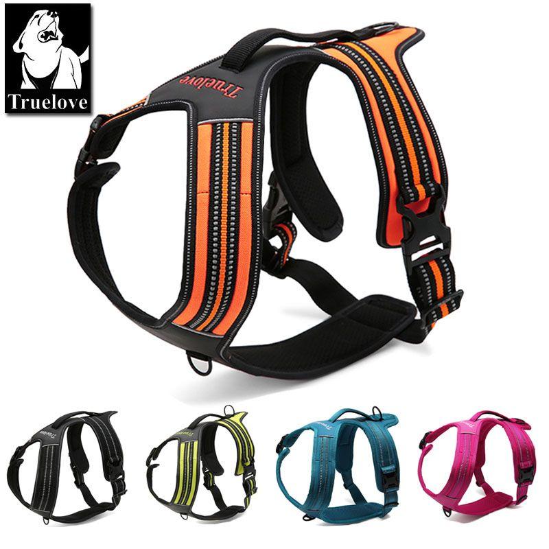 Truelove Sport Nylon Réfléchissant Pas Tirer harnais pour chien En Plein Air Aventure gilet pour animal de compagnie avec poignée xs à xl 5 couleurs en stock usine