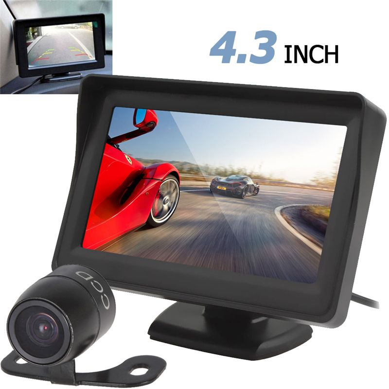 Haute définition 4.3 pouces TFT LCD voiture vue arrière moniteur Vision nocturne Parking caméra arrière 2 en 1 caméra de recul moniteur dispositif