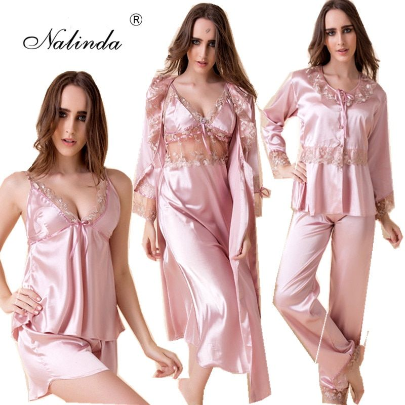 Emulation silk pajamas 6 woolly sexy big silk gown dress long sleeve pajamas night gown wedding night