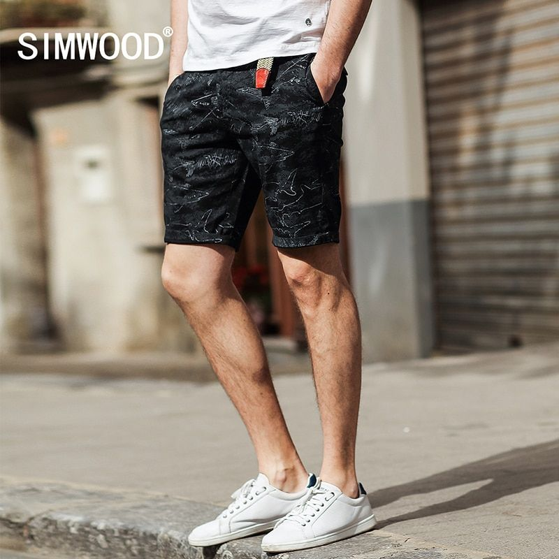 SIMWOOD 2017 Summer New Shorts Men Ocean Dolphin Cotton Brand Clothing Slim Fit Plus Size XD017004