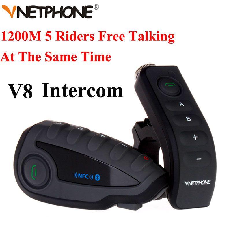 100% Original Brand Vnetphone V8 1200 Mt Bluetooth Intercom Motorrad Helm Sprech Headset NFC Fernbedienung Full Duplex + FM