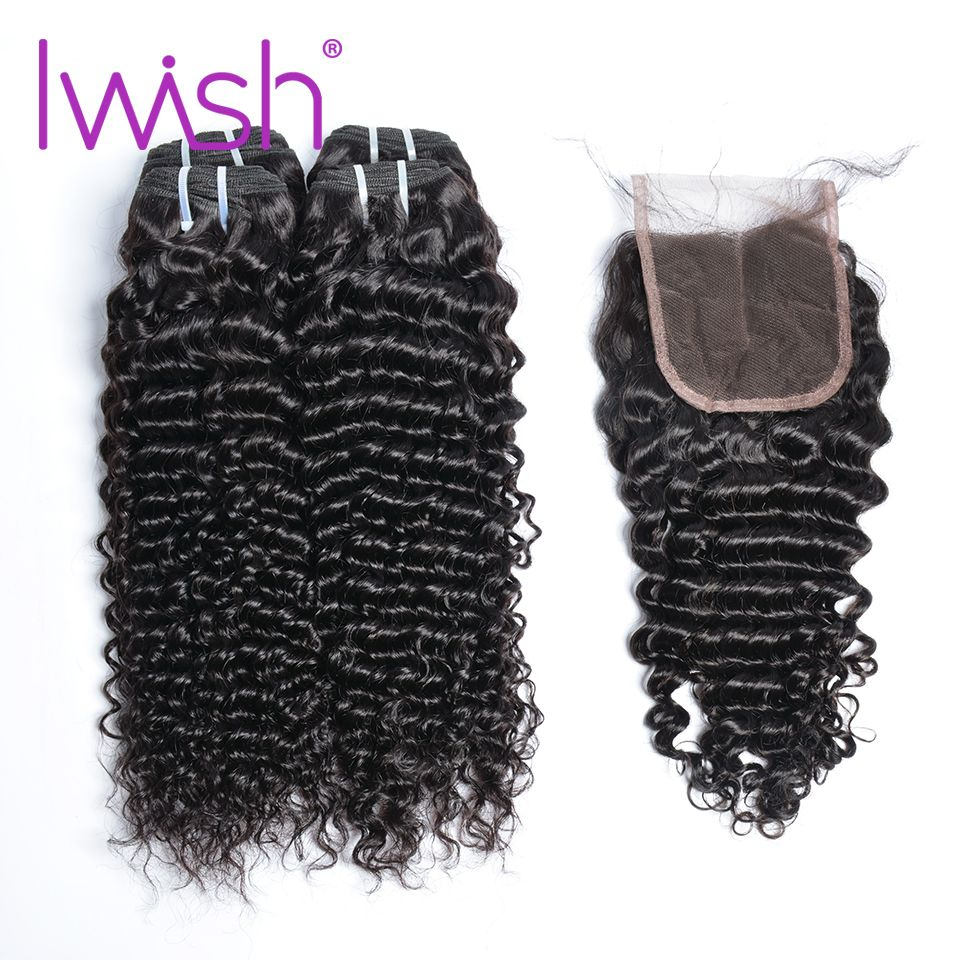 Iwish Hair Malaysian Curly 4 Bundles With Closure Human Hair Bundles With Swiss 4x4 Lace Closure Non Remy Hair Extension #1b