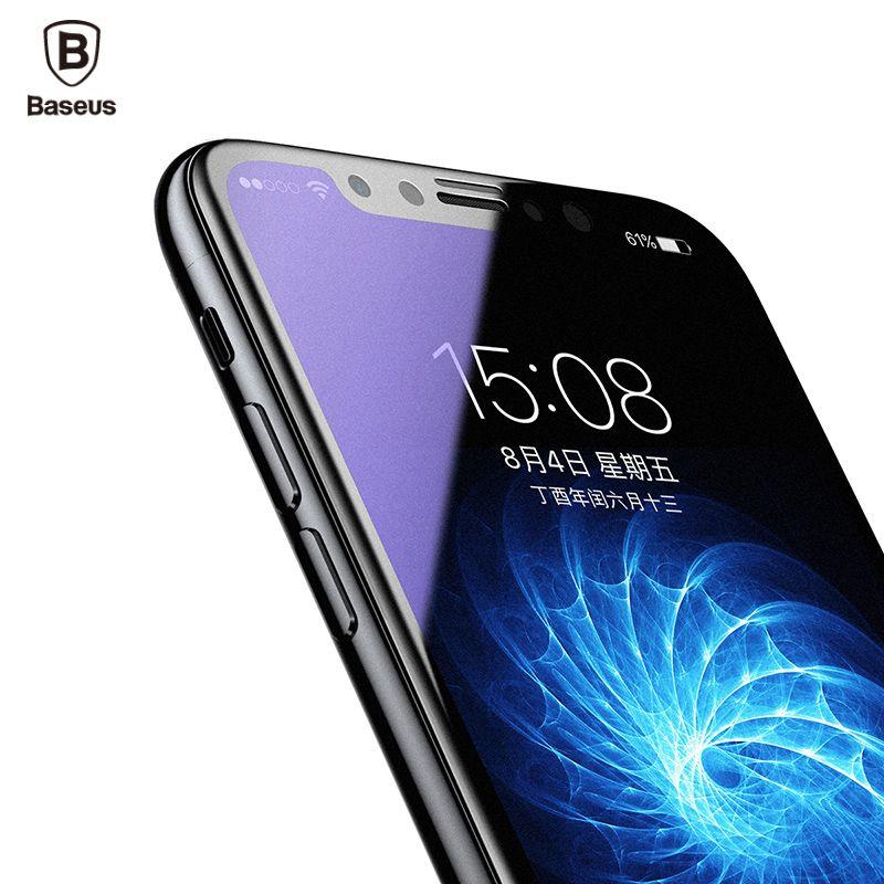 Baseus Pleine Givré Protecteur D'écran En Verre Trempé Pour iPhone X 10 3D Doux Bord Protection Couverture Trempé Verre Film