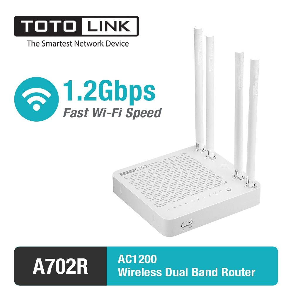 TOTOLINK AC1200Mbps Dual Band WiFi Router with WiFi Repeater function, English Firmware A702R