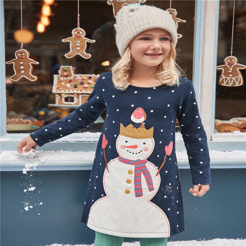 Children girls dresses applique 2018 clothing dresses girl snowman long sleeve kids clothes princess fashion cotton dress girls